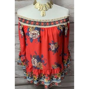 NWT Flying Tomato Floral Print Off Shoulder Top